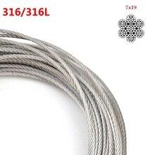 Diameter.3/4/5/6/8 мм Аутентичные Морской Класс 316 316L Проволока из нержавеющей стали Веревка 7*19 Структура кабель