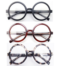 Büyük Boy Büyük Boy Retro Vintage Yuvarlak Gözlük Çerçevesi Siyah Kahverengi Leopar Optik Gözlük Gözlük