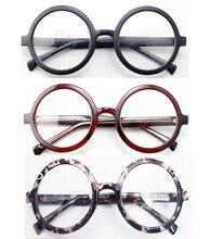 ขนาดใหญ่ขนาดใหญ่ Retro Vintage รอบกรอบแว่นตาสีดำสีน้ำตาล Leopard Optical แว่นตาแว่นตา