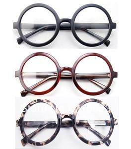 Image 1 - كبيرة الحجم المتضخم الرجعية Vintage إطار نظارات مستديرة أسود براون ليوبارد النظارات البصرية نظارات