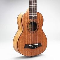 DIDUO 21 Inch 15 Frets Hawaii 4 Strings Guitar Ukulele Mahogany Soprano Ukulele Red Turtle Musical