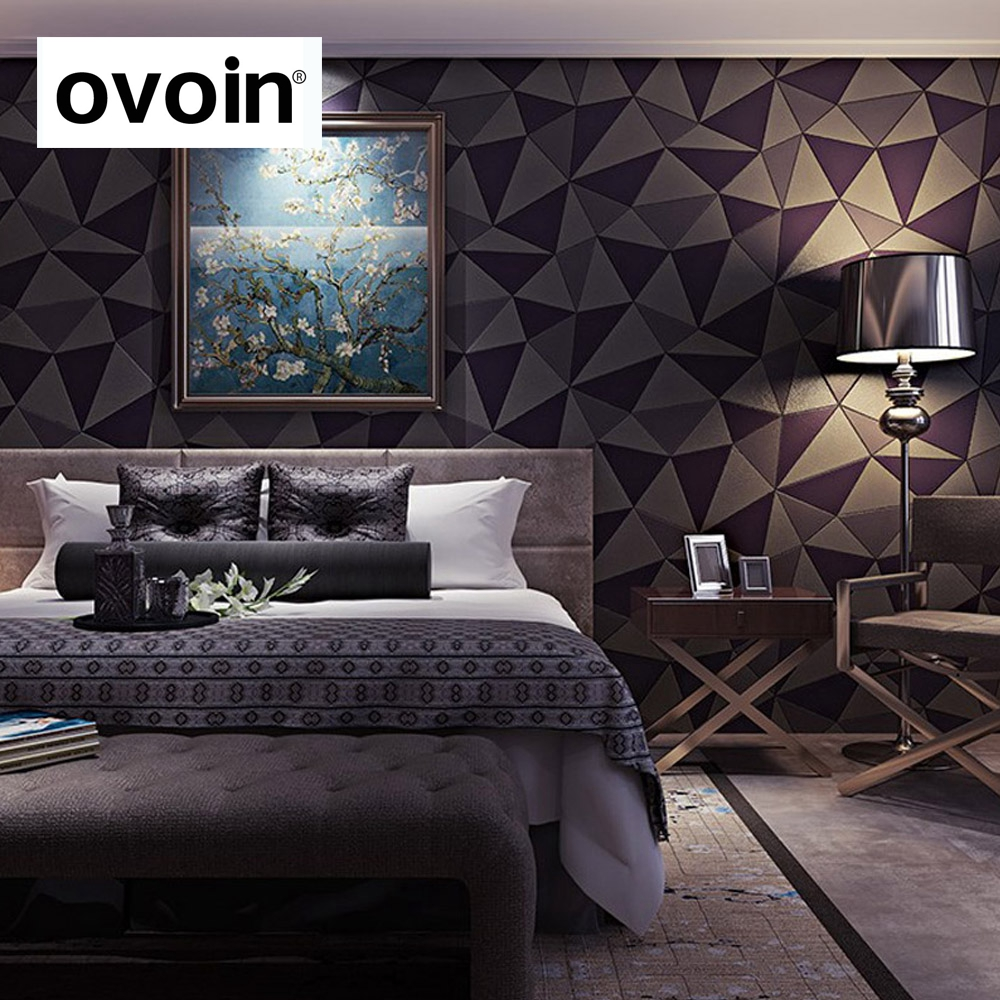 Geometric diamond shape triangle 3d effect leather for 3d effect bedroom wallpaper