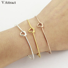 hot deal buy  v attract vintage heart knot statement bracelets & bangles women jewlery rose gold viking bangles femme 2018 valentine's gift