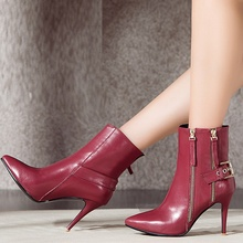 Black Red Cowhide Elegant Pointy Toe Thin High Heels Martin Boots With Belt Buckle Fashion Charming Women Booties Shoes Hot Sale