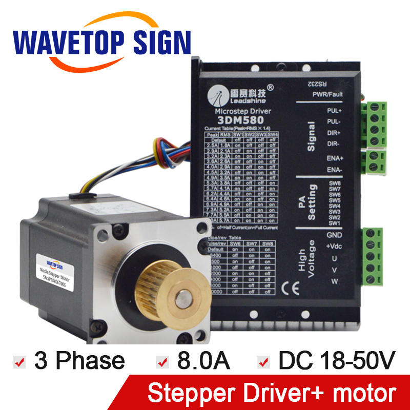 Leadshine 3 Phase Stepper Driver 3DM580 1PCS+Leadshine 3Phase Stepper Motor 573S15-L 1PCS free dhl used 3 phase cr06550 ac servo motor driver leadshine vs a4988 stepper motor driver module ems
