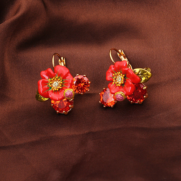 Enamel Glaze Safflower Crystal Bride Earrings Ear Nail Romantic Eardrop Woman Jewelry Mixed Batch