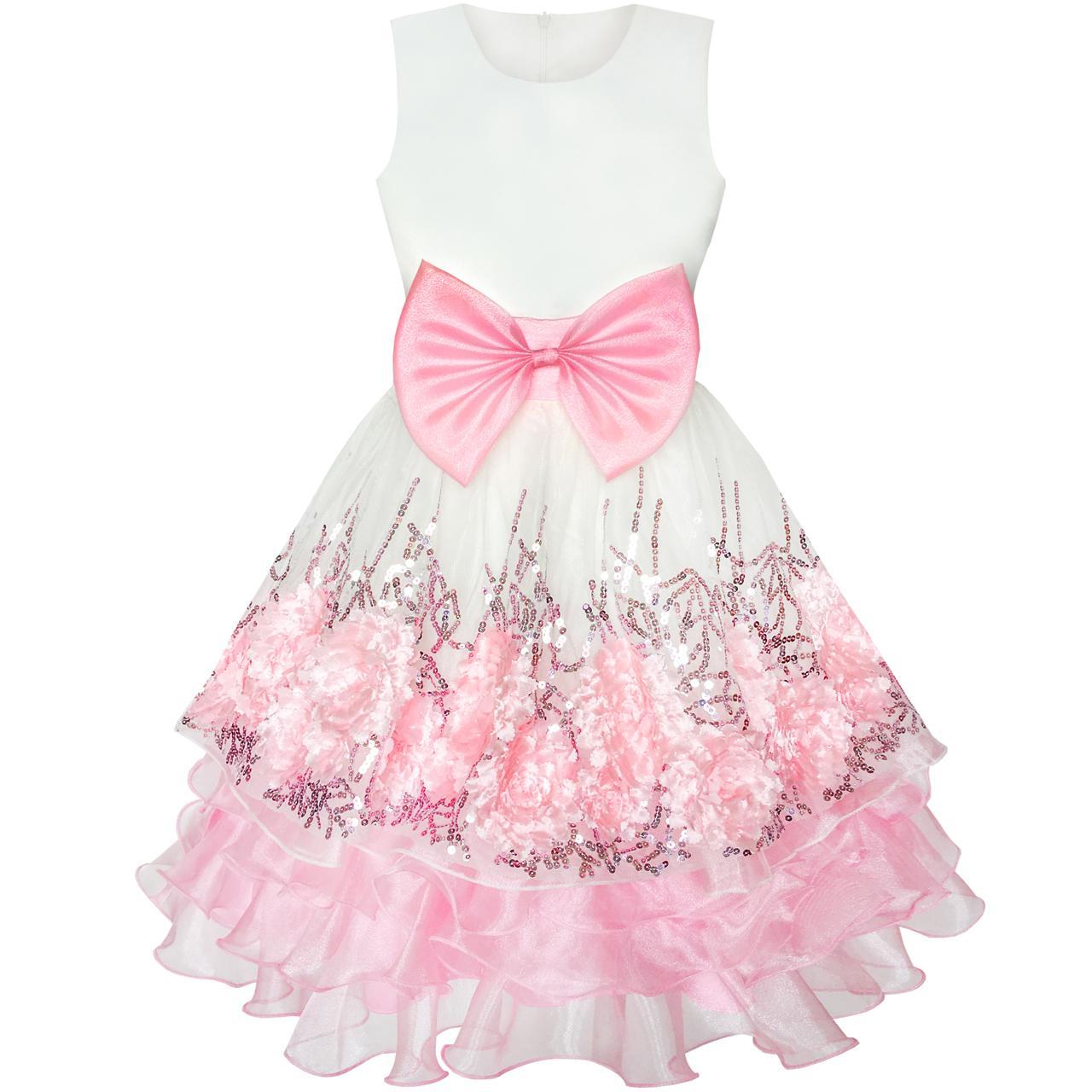 Sunny Fashion платья для девочек Цветок Розовый Цехин Размерный Цветы Галстук-бабочка Карнавальное шествие
