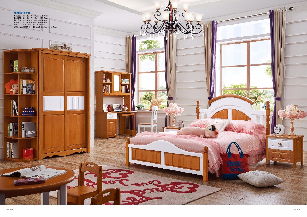 DS-802# All solidwood American nobility style solid wood children bedroom furniture set with bed sliding doors wardrobe desk стоимость