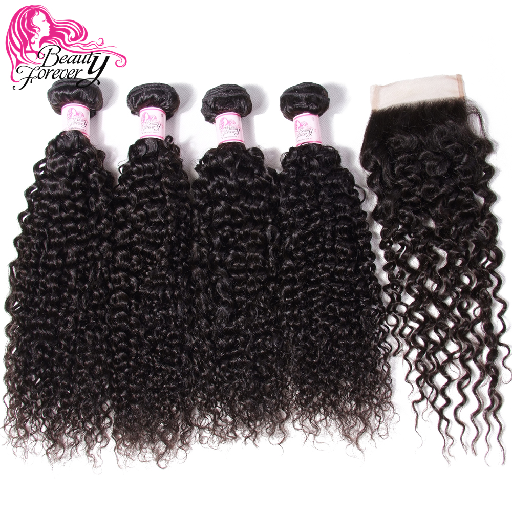 Beauty Forever Brazilian Curly Hair 4 Bundles With Closure Free Middle Three Part Remy Human Hair