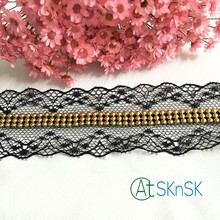 Newest lace1 yard 4cm width high grade nigerian dress lace trim african guipure black stone lace ribbon A1(China)