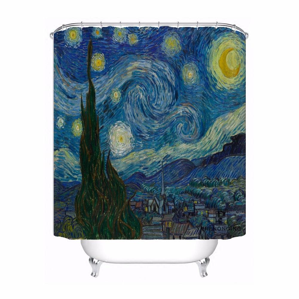 Custom Van Gogh Terrasse Des Cafes Waterproof Shower Curtain Home Bath Bathroom s Hooks Polyester Fabric Multi Sizes180509-62