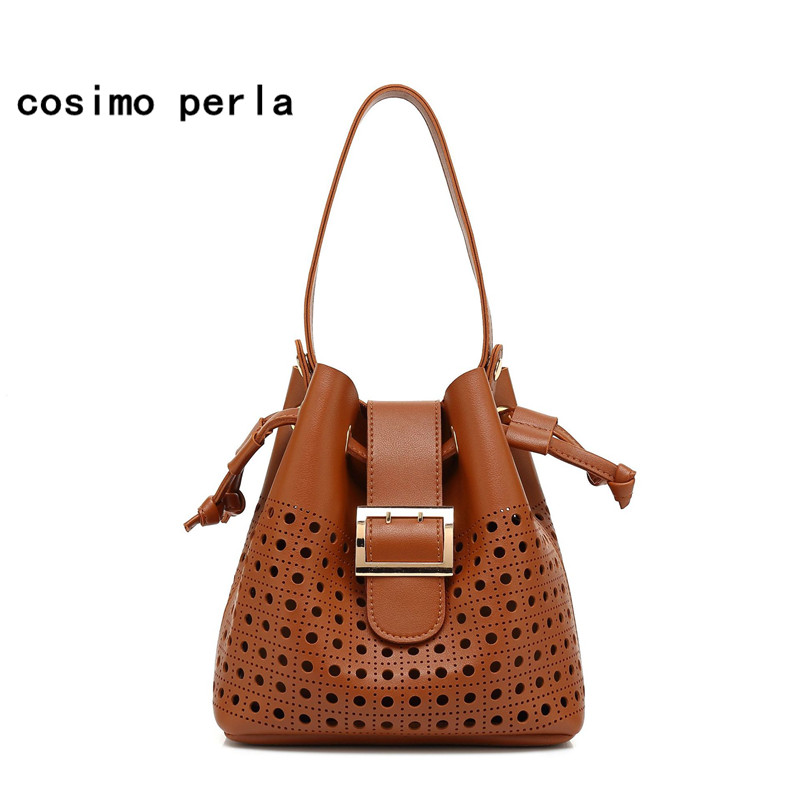 Europe Fashion Tote Shoulder Bags for Women 2018 Luxury Designer Hollow Out Leather Drawstring Shopping Bag Set Handbags Female