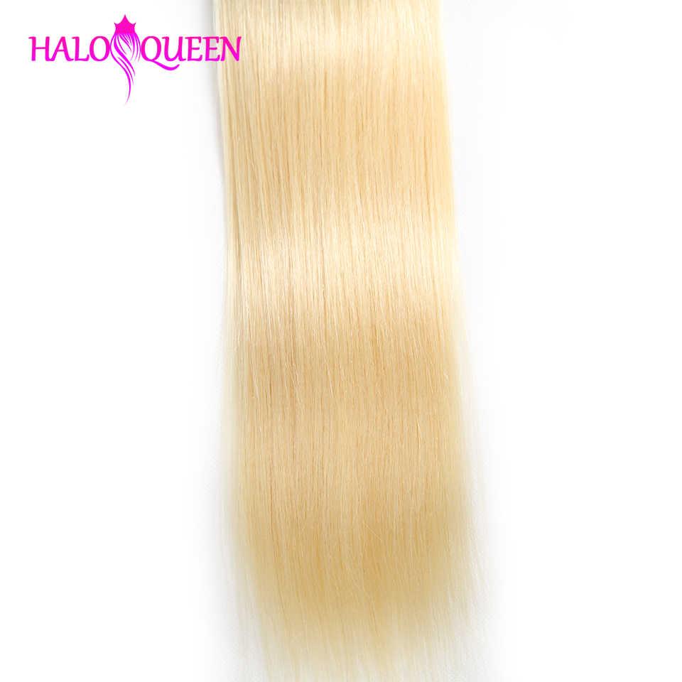 HALOQUEEN 613 фронтальной прямое, Омбре кружева уха до уха блондинка 13x4 бразильские волосы Remy человеческие волосы волна фронтальной швейцарский Застежка 6-20 дюймов