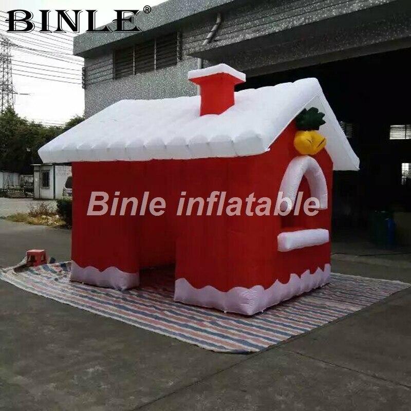 Jolie maison de noël gonflable extérieure cabine de noël gonflable santa grotto tente carrée pour la décoration de vacances