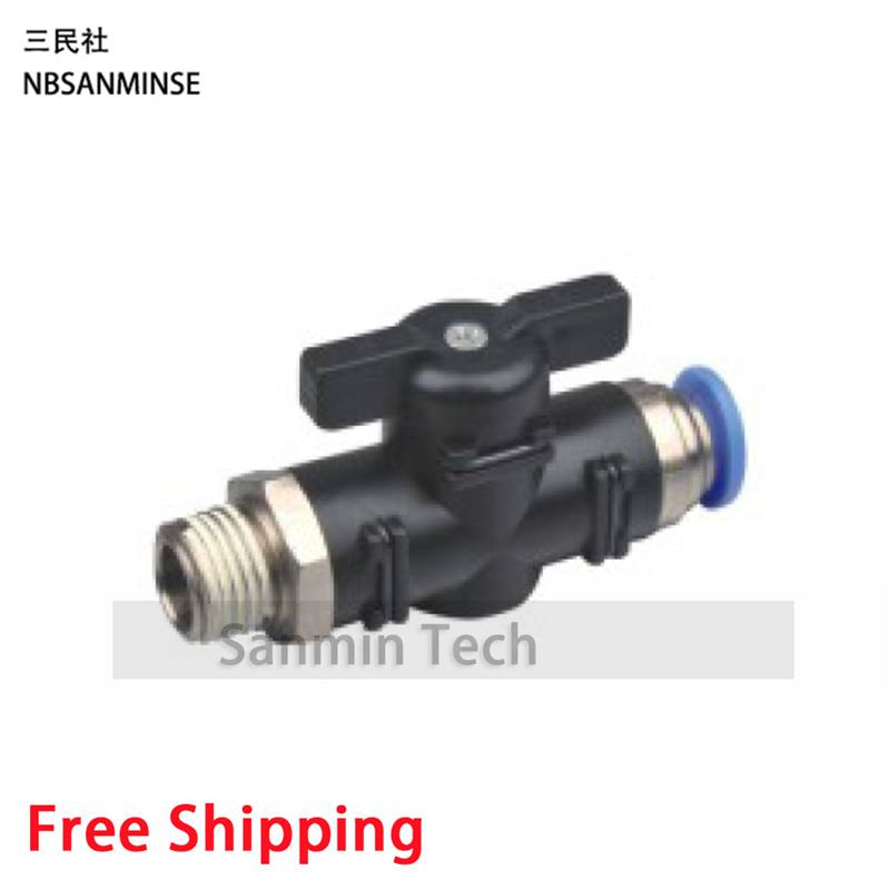 10Pcs/Lot BVC 1/8 1/4 3/8 1/2 Plastic Fitting Valve Air Flow Controller Pneumatic Compact Mini Ball Valve High Quality Sanmin 5pcs lot fbt 1 8 1 4 3 8 1 2 connector female branch tee stainless steel 316l tube fitting plumbing fitting high quality sanmin