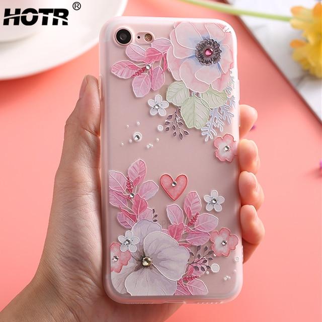 Cho iphone 8 Bling Kim Cương Flower Trường Hợp đối với iphone 7 7 Cộng Với Mềm TPU Silicone Cover Quay Lại đối với Apple 6 6 S Cộng Với 5 5 S SE