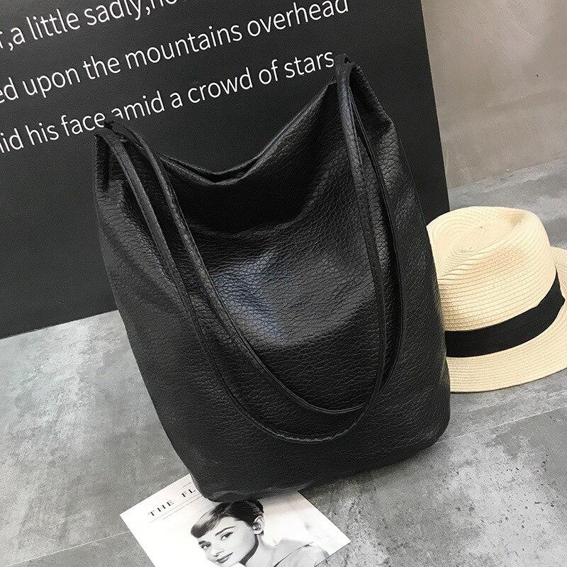 Women PU Handbags Black Bucket Shoulder Bags Ladies Cross Body Bags Large Capacity Ladies Shopping Bag in Shoulder Bags from Luggage Bags