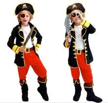 Christmas Halloween Costumes Children Cloplay Costume Boys Captain Jack Clothing Pirates Clothes party masquerade