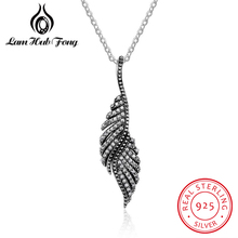 New Authentic 925 Sterling Silver Feather Wing Pendant Necklace High Quality Chain Necklace Fine Jewelry Accessories