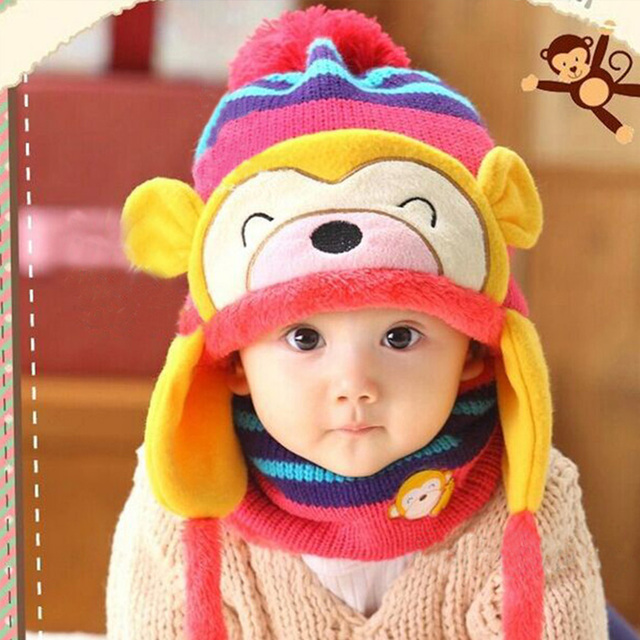 486fde49a78 Kawaii Baby Toddler Boys Girls Winter Ear Flap Warm Hat Bebe Hats With  Scarf Beanie Cap Monkey Kids Bonnet Enfant Headwear