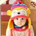 Kawaii bebé niño pequeño niño niña invierno Ear Flap Warm Bebe sombrero sombreros con bufanda Beanie Cap mono niños capó Enfant Headwear