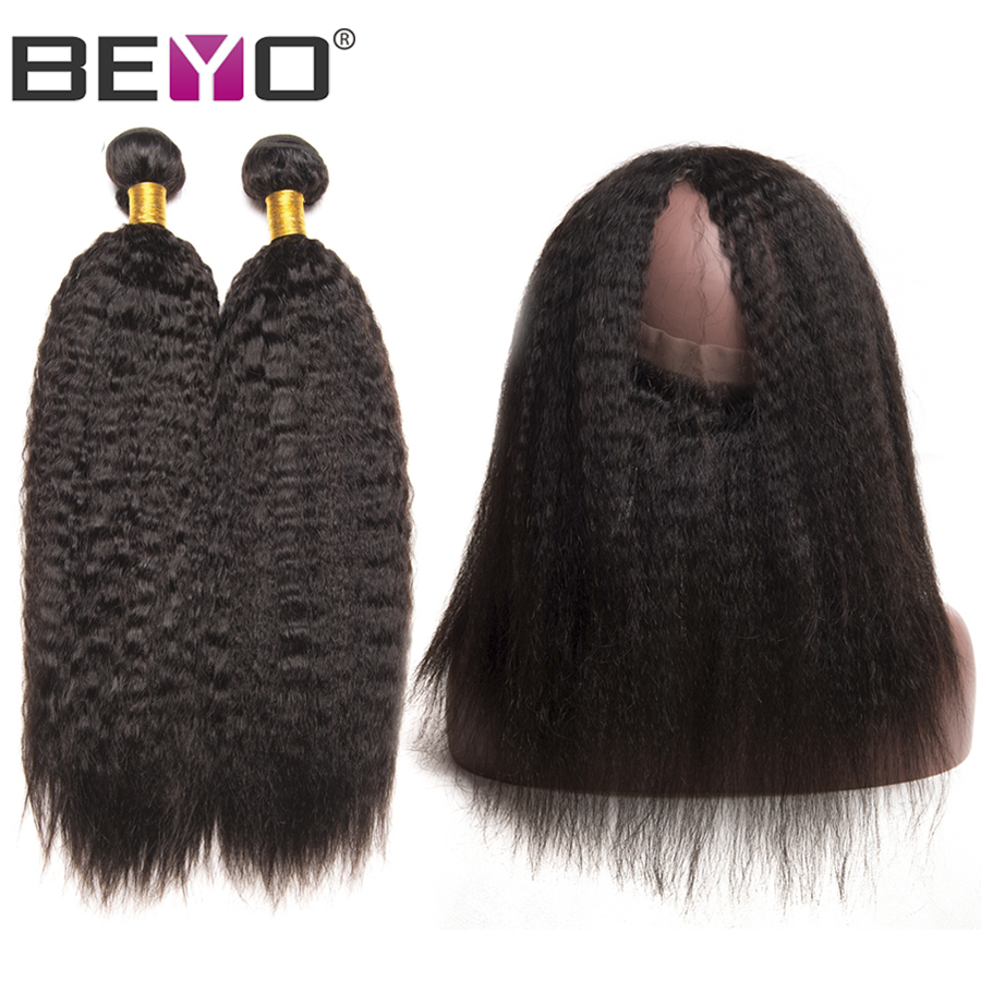 Beyo 360 Lace Frontal With Bundles Brazilian Kinky Straight Hair Weave Bundles Human Hair Bundles With