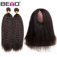 Beyo 360 Lace Frontal With Bundles Brazilian Kinky Straight Hair Weave Bundles Human Hair Bundles With Closure 3Pcs/Lot Non Remy