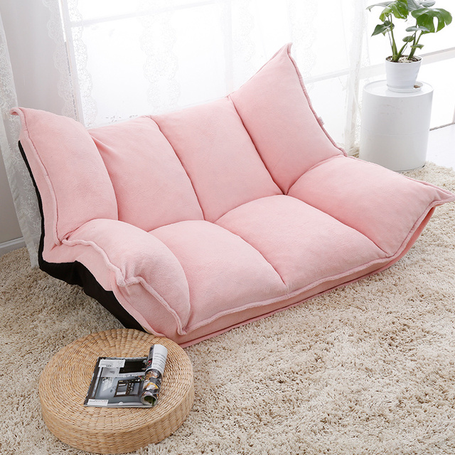 Adjule Fabric Folding Chaise Lounge Sofa Chair Floor Couch Living Room Furniture Daybed Sleeper Leisure