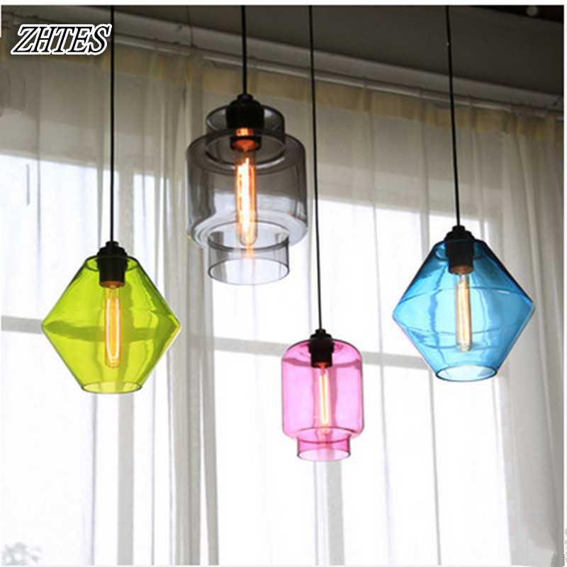 Color Glass Hanging Lights Milk Tea Shop Bar Table Lamp Dining Room Clothing Shop Small Pendant Light toughened glass small tea table phone sofa the round table