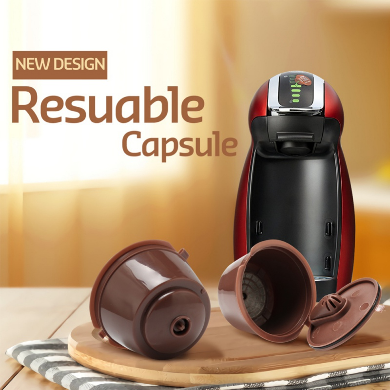 3 Pieces Reusable Nescafe Dolce Gusto Coffee Capsule Filter Cup Refillable Caps Spoon Brush Filter Baskets Pod Soft Taste Sweet