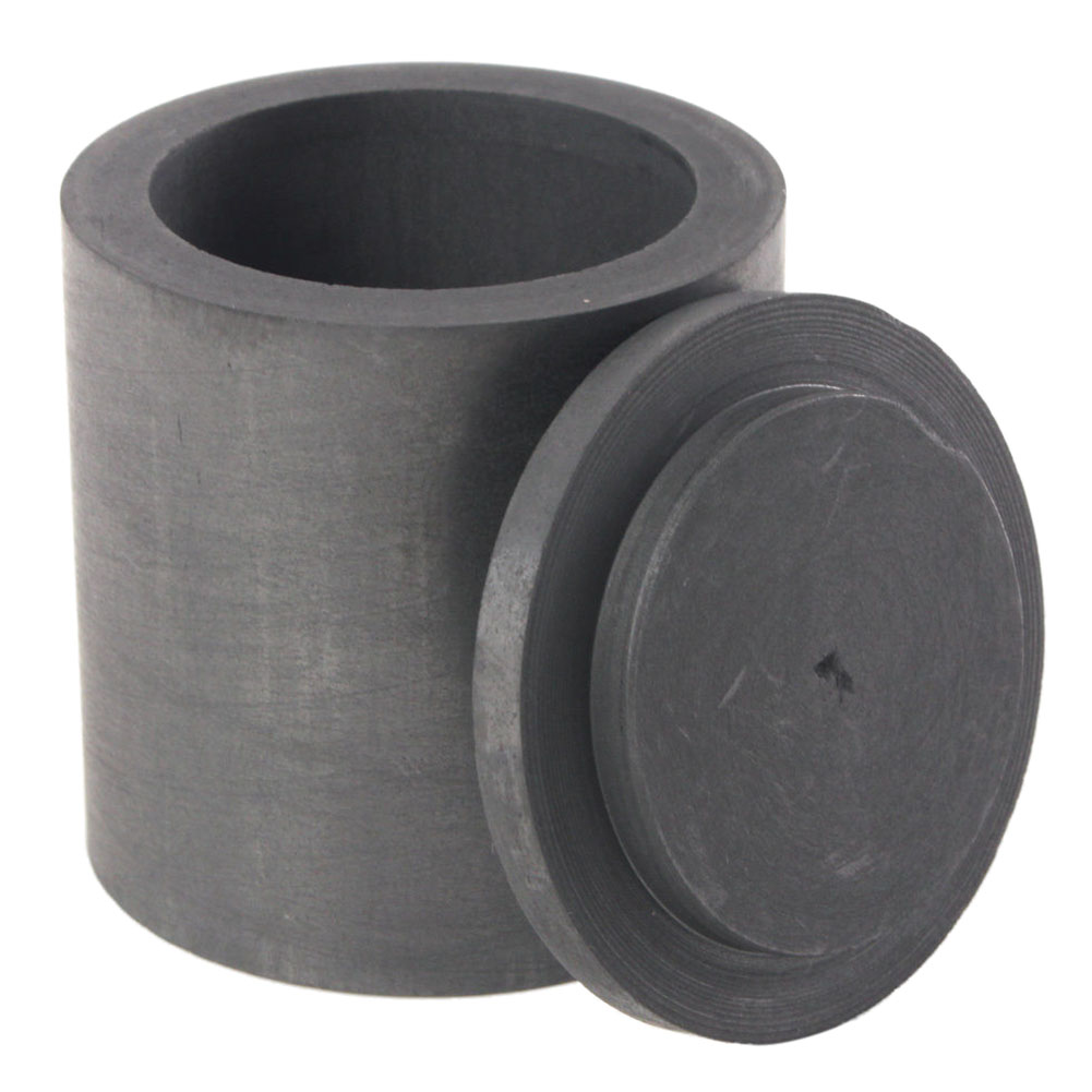High Purity Graphite Melting Crucible Casting With Lid Cover 40*40mm For Silver&black title=