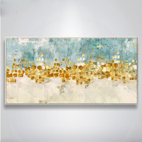 Handmade Thick Knife High Quality Modern Abstract Fine Artwork Canvas Gold Color Blocks Bedroom Artwork Wall