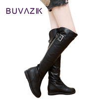 BUVAZIK flat boots women winter high boots women's long snow boot over the knee thigh high botas non slip ladies shoes