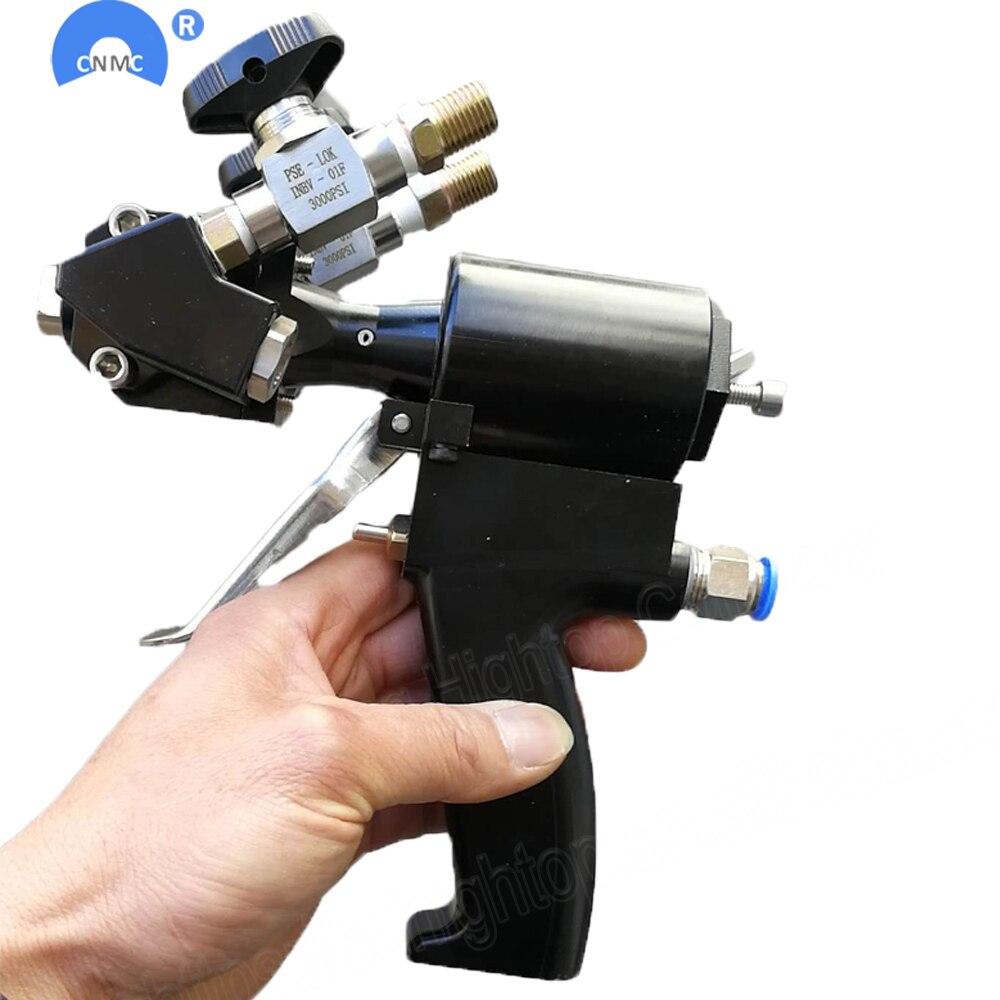 De poche PU polyuréthane pistolet de pulvérisation de mousse 2 composante air purge auto nettoyage