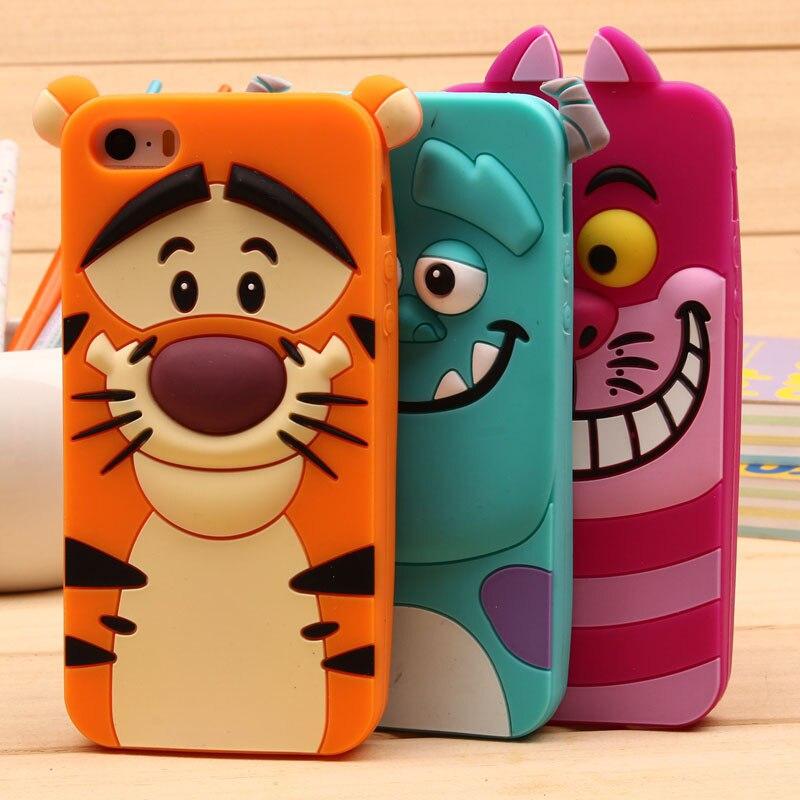 For Samsung S3 S4 S5 Mini S6 S7 A3 A5 A7(2015)(2016) For iPhone 4S 5S 6S 7 Plus Cute Sulley tiger Alice Cat Silicon Phone Case