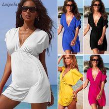 Summer Swimsuit Women Beach Dress Tunic Sexy Sling Beachwear Beach Sarong Pareo Low-cut V Neck Dress Swimwear Leopard White Red недорого
