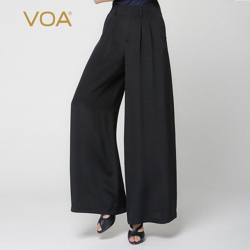 VOA 2018 Autumn Fashion Temperament Pure Black Heavy Silk Trouser Plus Size Mid Waist Loose Casual Thick   Wide     Leg     Pants   K6891