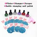 10 шт. Ногтей Штамповки Пластины + 6 лак для ногтей скребок стампер konad nail art stamp tool kit