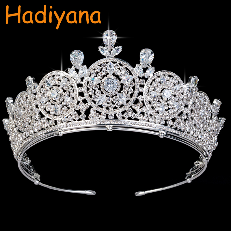 Hadiyana New bridal Hair Tiaras Round Crowns Shiny Copper CZ Rhinestone Wedding Accessories Sliver Crown Anniversary PartyBC3440Hadiyana New bridal Hair Tiaras Round Crowns Shiny Copper CZ Rhinestone Wedding Accessories Sliver Crown Anniversary PartyBC3440
