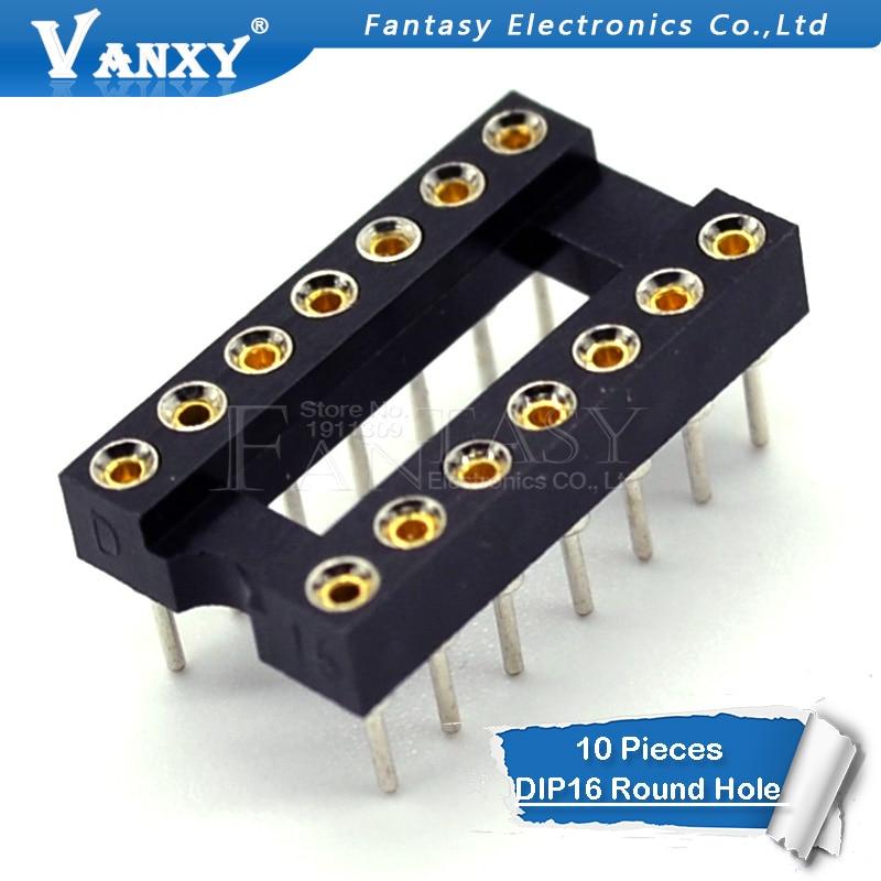 10pcs DIP-16 Round Hole 16 Pins 2.54MM DIP 2.54 DIP16 IC Sockets Adaptor Solder Type 16 PIN IC Connector