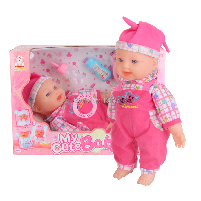 e22f8a4a1965f 16 Inch Intelligent Baby Reborn Talking Doll With Bottle Feeding Doctor Play  Set