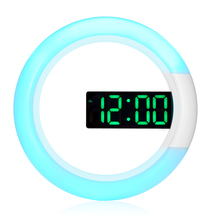 Digital LED Wall Clock Mirror Temperture Alarm Clock USB Clock 12H/24H Display RGB Color Light Round Clock with Snooze Function