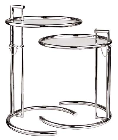 Height Adjustable Eileen Gray Side Table Tempered Glass Top End Table Side Table Modern Tea Table Caft Loft Table 2 Pcs