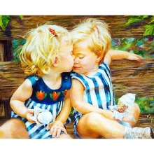 Frameless Blond Kids Kiss Landscape DIY Painting By Numbers Kit Paint On Canvas Calligraphy For Home Decor