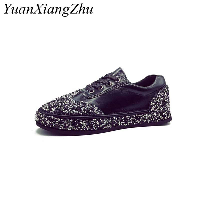 Fashion Sexy Flat Womens shoes 2018 Summer Breathable Sequined Cloth Women shoes Brand Comfort Lace-Up Party Flat Women Shoes