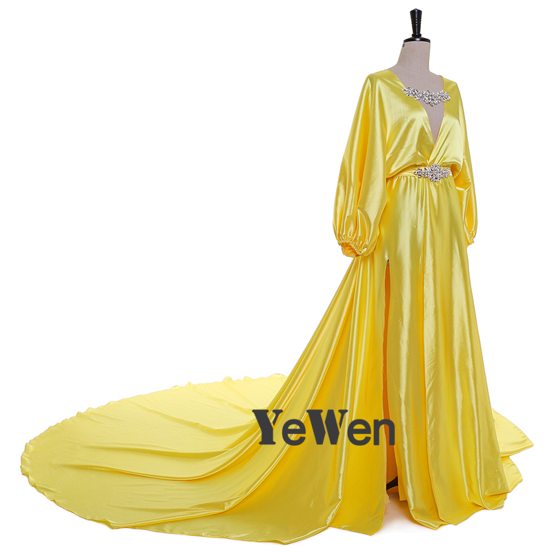 1M Train Sexy Evening Dress V Neck Silk Satin Crystal Yellow Blue Party Evening Dresses 2019 YeWen Prom Dresses Plus Size in Evening Dresses from Weddings Events