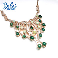 Bolaijewelry,masterpiece party necklace natural emerald and shinning ethiopian opal 925 sterling silver rose gold for women gift