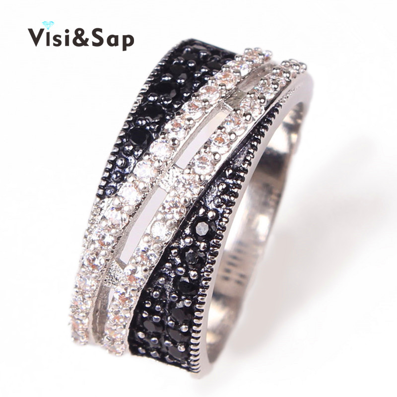 Visisap Black white stone Punk Rings For women cubic zircon unisex ring Party bands Bijoux  jewelry gold color VSRR089
