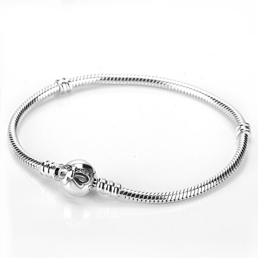 28e675a71010c 925 Sterling Silver Sparkling Bow Clap Bracelet Fit Original Charm Bracelet  & Bangle For Women Silver 925 Jewelry Gift