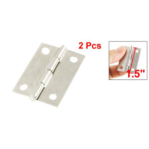 NFLC New 2 Pcs Silver Cabinet Drawer Door Stainless Steel Butt Hinges 1.5 Length 2pcs set stainless steel 90 degree self closing cabinet closet door hinges home roomfurniture hardware accessories supply